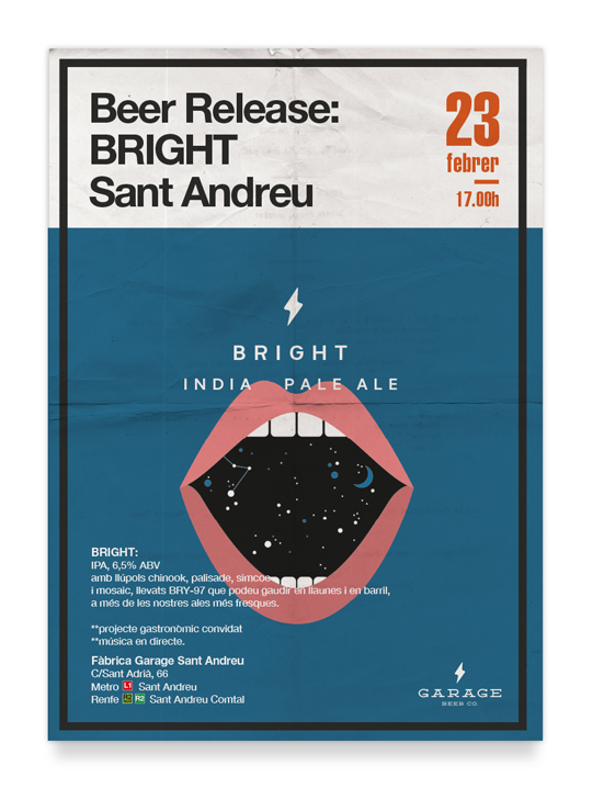 Garage Beer Co presentación Bright - Cartel