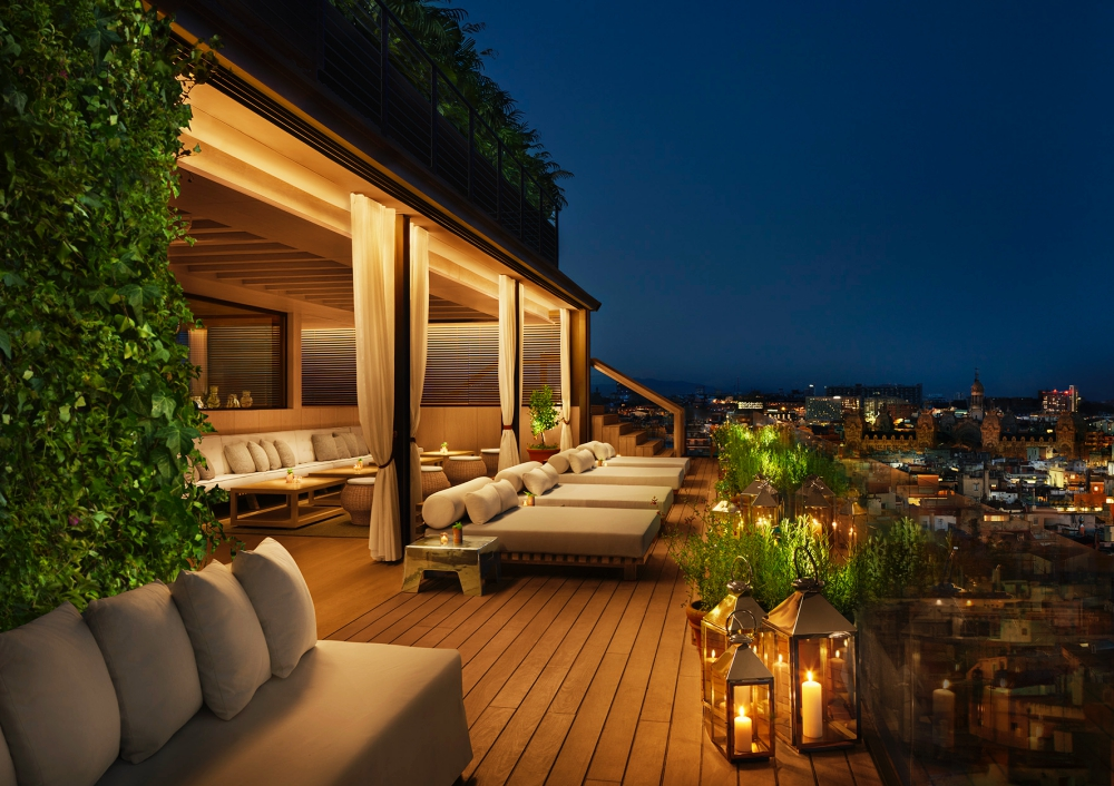 Lounge area at The Roof in the evening